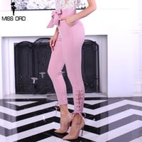 Missord  2017 Sexy OL  tight Drawstring high waist trousers summer  style famale  bow belt  cross  pants FT4752