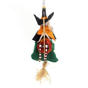 De Carlini Witch & Green Bag On A Broom Halloween Glass Ornament
