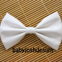 White Fabric Hair bow for teens or womengirls by babyjoshdesign