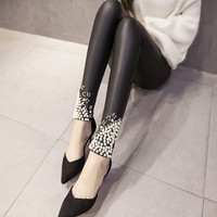 Buy Hamuet Beaded Faux Leather Leggings | YesStyle