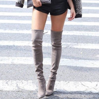 Kunis Gray Suede Boots