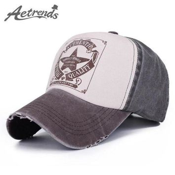 PEAPON [AETRENDS] 6 Colors Star Patchwork Baseball Cap Men or Women Outdoor Sport Polo Hats Z