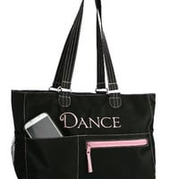 Classic Black Dance Tote Bag FREE Personalization Dance Bag Tote Recital Ballet Bag Valentine Easter Birthday Gift Dance Gear Bag