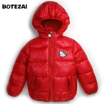 Retail New 2017 girls winter Hello Kitty Jacket Children Casual Hooded Vest Kids Windbreaker Coats Baby Warm Clothes 4 Color