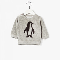 Imps and Elfs Baby Boy Penguin L/S Velour Pullover - Cosy Grey Melange - 3150670