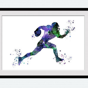 American football poster American football player watercolor print Colorful sport poster Kids room wall art Home decor Christmas gift  W391