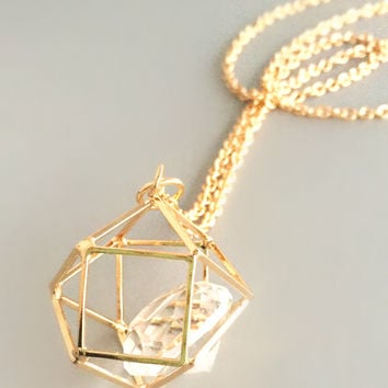 Geometric Crystal Pendant Necklace