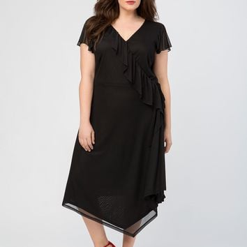 Ruffle Cap Sleeve Wrap Dress