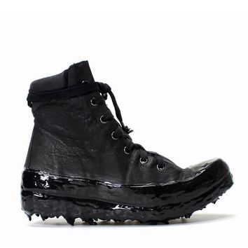 """Indie Designs Custom Made Carol Christian Poell """"Object Dyed, No Seam Drip-Rubber"""" Leather Sneaker"""
