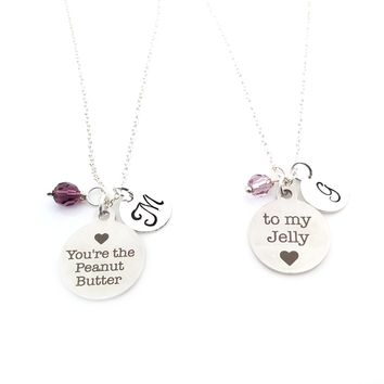 You're The Peanut Butter to my Jelly Charm Necklace Set - Best Friends Necklace - Swarovski Birthstone - Initial Personalized - BFF Set