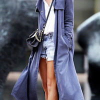 Navy Shawl Collar Belted Overlay Trench Coat