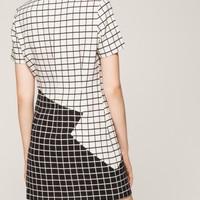 Black and white checkered shift dress