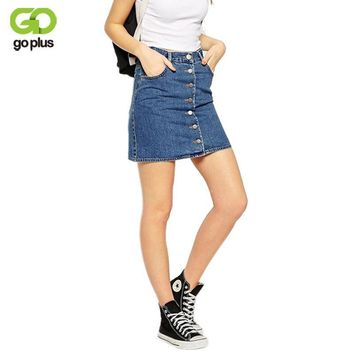 GOPLUS 2017 Summer Style New Fashion Short Jeans Skirt Women Faldas Midi Denim Skirts High Waist Sheds Tutu American Apparel