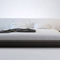 White Leather and Wenge Brookline Platform Bed | Modern & Contemporary Beds | zurifurniture.com
