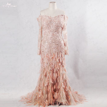 RSE198 Yiaibridal Salmon Off The Shoulder Mermaid Pearls Lace Long Sleeve Evening Dress 2016 Ostrich Feather Dress