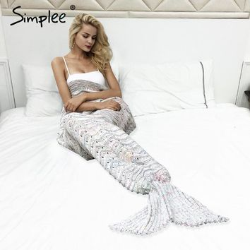 Simplee Autumn warm knitted mermaid blanket Princess hollow out soft crochet Winter fish tail sofa sleeping bag wrap bedding