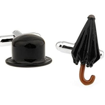 Mens Cufflinks Englishman's Bowler Hat and Umbrella Cuff Links B1313