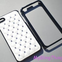 Quilted WHITE Leather Black Frame Case Cover / Clear Crystal Diamond Rhinestone Bling for iPhone 4 4G 4S handmade using Swarovski Elements