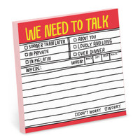 Knock Knock Hand-Lettered We Need to Talk Sticky Notes