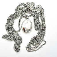 Silver Vintage Etched Locket Pendant Necklace Multi Chain