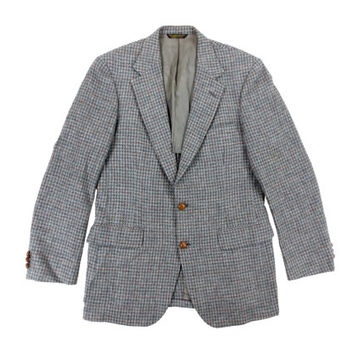 Vintage Grey Houndstooth Sport Coat - Blazer Jacket Wool Plaid Preppy Ivy League Menswear - Men's Size 40 Medium Med M