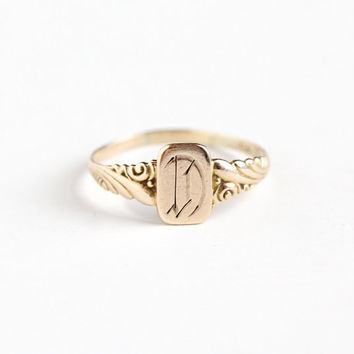 "Vintage Art Deco 10k Yellow Gold Letter ""D"" Signet Ring - 1920s 1930s Size 4 3/4 Initial Monogrammed Personalized Repousse Fine Jewelry"