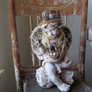 Cherub angel statue w/ crown holding a bird French Santos angelic shabby cottage chic embellished rustic farmhouse decor Anita Spero Design