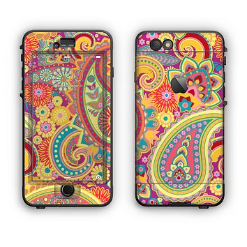 The Neon Orange Paisley Pattern Apple iPhone 6 Plus LifeProof Nuud Case Skin Set