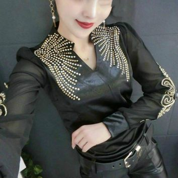 2018 Spring Long Sleeve V Neck Embroidery Satin T-shirts Women Rivet Bead Work Black Satin Tops Fashion Sexy Body Satin Tops
