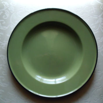 Vintage Enamelware Graniteware Olive With Black Trim Dinner Plate Marked Poland Circa 1960s
