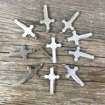 1 or 5pc LOT! Cross shaped Knife Pendant. Vintage 1970s. pocket knife. dudes. stainless steel metal. christian jewelry crucifix Fob m95