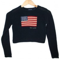 Ralph Lauren Fourth of July Independence Day Patriotic USA Flag Sweater Girls Size 7 Small $12 - The Ugly Sweater Shop