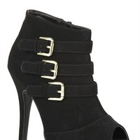 Peep Toe High Heel Booties with Buckle Accents