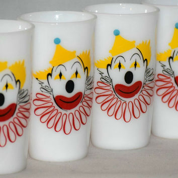 Vintage Glassware-Hazel Atlas-Clown-Tumblers