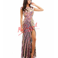 Cassandra Stone by Mac Duggal 4100A Crystal Pink Sequin Cutout Back Dress 2015 Prom Dresses