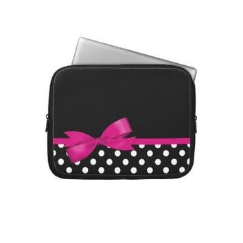 Pink Bow Black and White Polka Dots Laptop Computer Sleeve from Zazzle.com