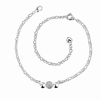 silver plated jewelry anklets Beads connected ankle bracelet men jewelry MP