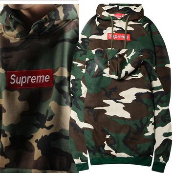 Boys & Men Supreme Camouflage Embroidery Top Sweater Pullover Hoodie