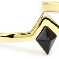 House of Harlow 1960 Gold-Plated Black Triangle Cuff Bracelet