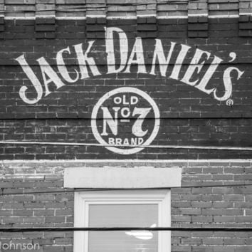 Jack Daniels Mural, 11 x 14 Art Photography, Tennessee, Lynchburg, Photo Art Print, Decor, Wall Decor, Black and White