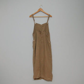 Vintage 1990's Khaki/Natural Colored Overall Style Long Jumper with Low Back - Maxi Dress