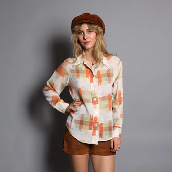 70s Semi-Sheer PLAID SHIRT / Loose Fit Ikat Linen Top, s-m