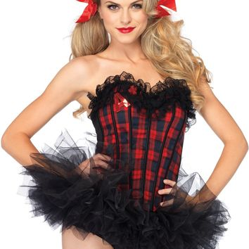 Plaid Corset Costume (Small,Red)