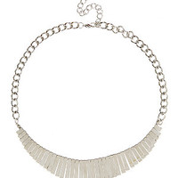 Silver Fringed Curve Necklace