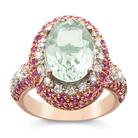Rose Goldplated-over-Sterling Silver 4-Carat Genuine Green Amethyst Daydream Ring