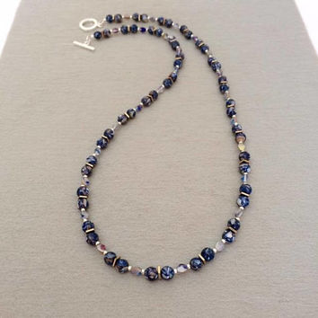Blue Bead Necklace Christmas Gift For Mom Blue Shell Necklace Beaded Gemstone Necklace Christmas Gift Wife Blue Stone Necklace Gift For Her