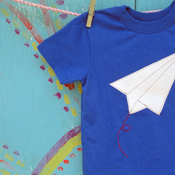 Paper Airplane Appliqued Tshirt Royal Blue Fourth by OddEDesigns