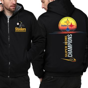 Pittsburgh Steelers Jackets| Fleece Thicken Zip Up Hooded Jackets (4 Colors)