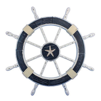 Wooden Starfish Rustic Blue And White Decorative Ship Wheel 30""