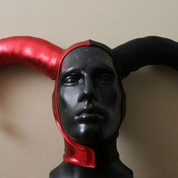 READY TO SHIP Version 1: Harley Quinn Inspired Metallic Red and Black Stretch Jester Hat One Size